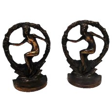 """NUDE IN WREATH"" Signed Antique Art Nouveau Female Bookends"