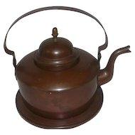 Antique Copper Tea Kettle w/Attached Plate & Acorn Lid
