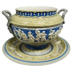 """Antique Mettlach - Germany Punch Bowl and Tray - 10 1/4"""" Tall"""