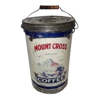 Collectible Mount Cross Brand Coffee Advertising Tin w/Lid and Wooden Handle - 10 LBS