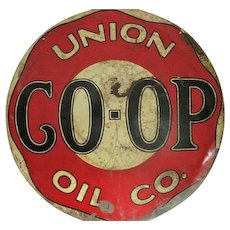 "Rare - Union CO-OP Oil Co. - Double Sided - Metal Porcelain Sign - 25 1/2"" Diameter"