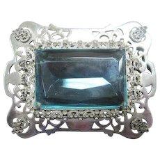 1930's Statement Broach Pin - H. Pomerantz Inc. New York - w/Large Aquamarine Glass Stone