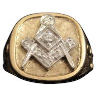 "10KT Gold ""Coronation"" Masonic Ring w. (6) Diamonds - 13.9 Grams"
