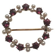 14KT Gold - Ruby & Pearl Wreath Broach Pin - 2.9 Grams