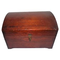 1930's Camel Back Wooden Dovetailed Keepsake Box with Drawer & Mirror