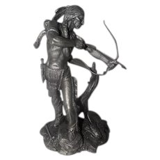 """1984 Sioux Hunter Pewter Statue by Jim Ponter - 2216/4500 - 9 1/2"""" Tall"""