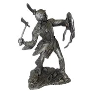 "1985 Comanche Warrior by Jim Ponter - Pewter Statue - 2474/4500 - 9 1/4"" Tall"