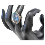 Abalone Stone Ring - Alpaca Silver - Size 7