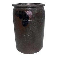 "Mid Century - Brown & Cobalt Blue Stoneware Vase/Planters Pot - 8"" Tall"