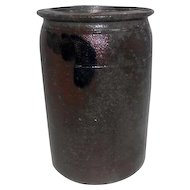 "Mid Century - Brown & Cobalt Blue Stoneware Vase/Planters Pot - 8"" Tall"
