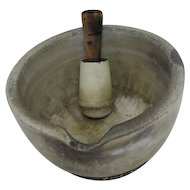 Antique - Stoneware Mortar Bowl with Spout & Wooden Handled Masher