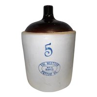 The Western Pottery Co. Made in Denver #5 - 5 Gallon Jug w/Handle