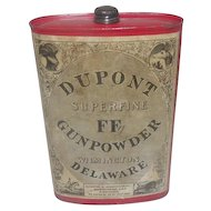 Antique 1924 Dupont Superfine FF Gun Powder Tin w/ Cap