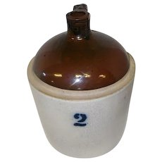 "Antique 2 Gallon Crock Jug w/Handle - 12"" Tall"