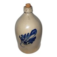 "Antique Beehive Crock Jug w/Blue Design and Handle - 14 1/2"" Tall"