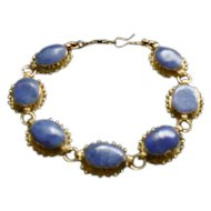 "Brass Oval Blue Polished Stone Bracelet - 7 7/8"" Long"