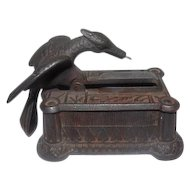"Antique Cast Iron Eagle Sewing Darning Box - 2 3/4"" Tall"