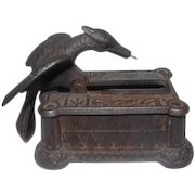 """Antique Cast Iron Eagle Sewing Darning Box - 2 3/4"""" Tall"""