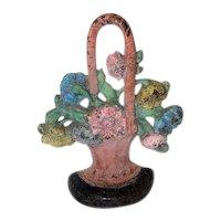 "Antique Cast Iron Flower Basket Door Stop - 8 1/2"" Tall"