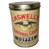 "Antique Caswell's National Crest Brand Coffee Advertising Tin w/ Lid - 7 1/4"" Tall"