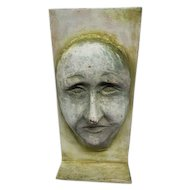 "Antique Decorative Iron Face Door Stop - 12"" Tall"