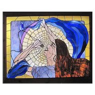 "Nicely Framed Stain Glass - Scott V. Brown 1977 - Janis Joplin Tribute - 45 1/4"" x 35"""