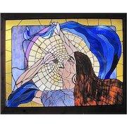 """Nicely Framed Stain Glass - Scott V. Brown 1977 - Janis Joplin Tribute - 45 1/4"""" x 35"""""""