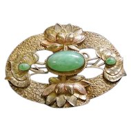 "Beautiful Green Aventurine Turquoise Stone Brass Broach Pin - 3"" x 2 3/8"""