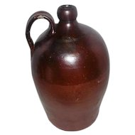 "Antique Large Crock Jug with Handle - 14 3/4"" Tall"