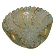 Antique Murano Hand Blown Latticino Ribbon Glass Bowl - Pale Blue/Cream/Gold Gilt