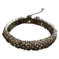 "Stunning Rhinestone Cluster Bracelet with Safety Chain - 7 1/4"" Long"