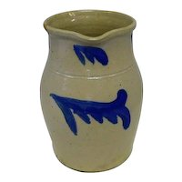"Stoneware Pitcher w/ Cobalt Blue - 8 3/4"" Tall"