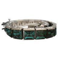 Art Deco - H & S Sterling Bracelet w/Green Crystal Channel Set Glass Stones - 24.1 Grams