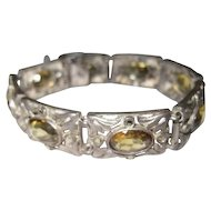 Art Deco - Sterling Germany Bracelet w/(8) Citrine Oval Stones - 25.8 Grams