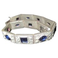 "Art Deco Silver w/Blue & Clear Diamantes Bracelet - 8 1/8"" Long"