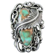 Art Deco Sterling Leaf Wrapped Ring w/Large Turquoise Stone - Size 6.5