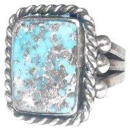 Art Deco Style Ring w/Large Turquoise Stone - Size 11
