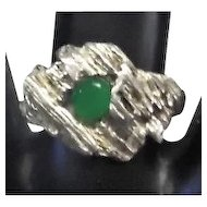 Art Deco Style w/Green Jade Stone Ring - Size 6.75