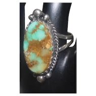 Art Deco Styled Ring w/Turquoise Stone on Silver - Size 8.75