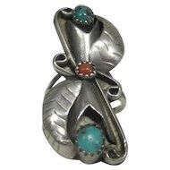 Art Deco Styled Sterling Leaf Designed Ring w/Turquoise & Corral Stones - Size 6.75