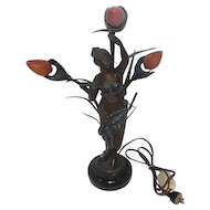 "Art Noveau Splendor Bronze Lady w/Catails - 3 Bulb 2-Way Light - 18 1/2"" Tall"