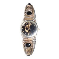Art Noveau Sterling Watch Band & Watch - Marked R. B.