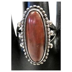 Beaded Pawn w/Brown Agate Stone - Ring - Size 10