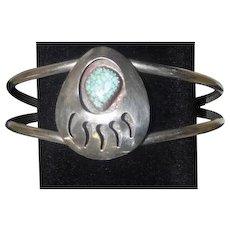 Bearpaw Turquoise on Silver Cuff Bracelet - 15.3 Grams