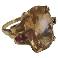 Beautiful 14KT Yellow Gold Ring w/Yellow Hessonite Garnet & Rubies - 5.3 Grams