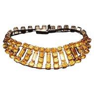 Beautiful! Early 1900's Rhinestone Bracelet w/ Amber Glass Rhinestones