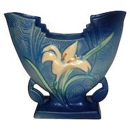 "Blue Roseville USA 205-6 Zephyr Lily Fan Vase - 6 1/4"" Tall"