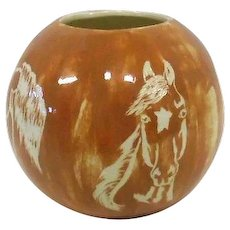 "Brenda Bigalow 1978 Horse Pottery Bowl/Vase - 5 1/4"" Tall"