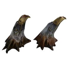 Bronze Pair of Eagle Head Wall Decor - Gold Gilt Beak & Eyes - Marked