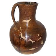 "Brown Linroth Large Pottery Tribal Pitcher w/Handle - 13 3/4"" Tall"